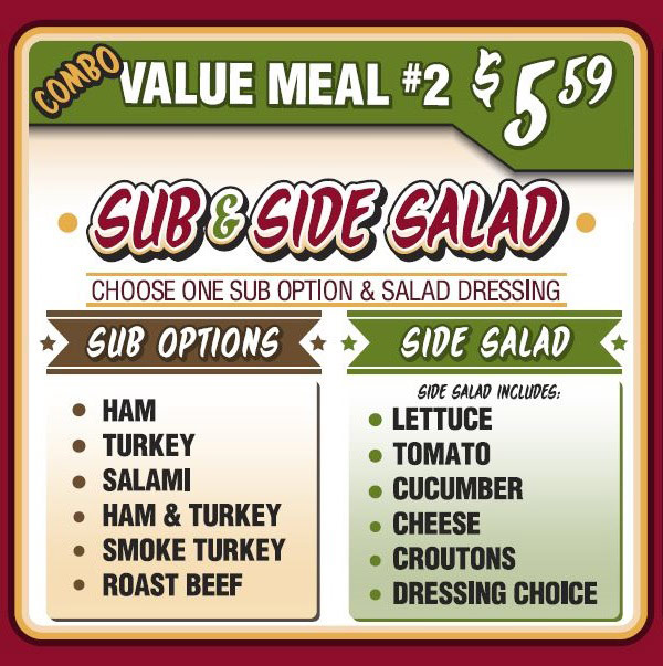 Combo Value Meal 2 - sub and side salad